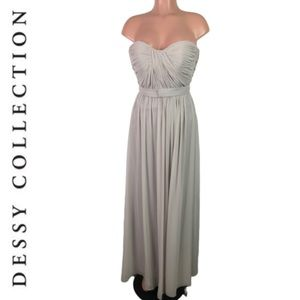 Dessy Collection Gray Bridesmaid formal Dress sz S